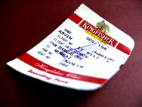Short changed - An image of the stub of a Kingfisher airlines boadring pass