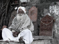 A star in his own right  - An image of a sadhu at Walkeshwar, South Bombay