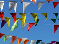 Thinking of Valentine Day? - An image of coloured flags on Republic Day in Dhobhi Ghat at Walkeshwar