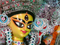 Happy Dussera / Durga Puja - Closeup of Godess Durga's idol