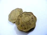 Ten percent of a Rupee - Two coins of 10 paise