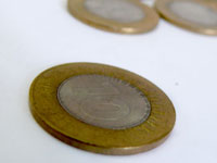Got 2 fivers? - stack of Rs.10 Indian coins