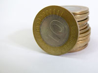 Minting money is not so easy afterall - stack of Rs.10 Indian coins
